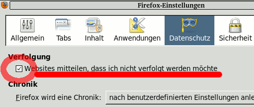 Do not track Einstellung im Firefox
